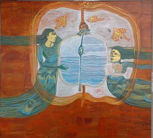 Tradition by Sonali Chouhan, Illustration Painting, Acrylic on Canvas, Orange color