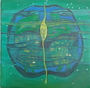 Good night by Sonali Chouhan, Illustration Painting, Acrylic on Canvas, Green color