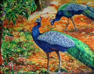 Peacocks by Muralidhar Suvarna, Illustration Painting, Acrylic on Canvas, Gray color