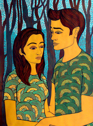 Tender Moment by Revati Gangal, Illustration Painting, Acrylic on Paper, Gray color