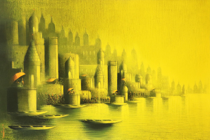 Golden Night in Banaras by Somnath Bothe, Illustration Painting, Acrylic on Canvas, Yellow color