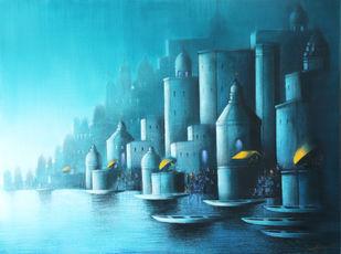 Blue night in Banaras by Somnath Bothe, Illustration Painting, Acrylic on Canvas, Aqua color