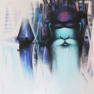 Sadhu.. The Holy man of India by Somnath Bothe, Illustration Painting, Acrylic on Canvas, Silver color