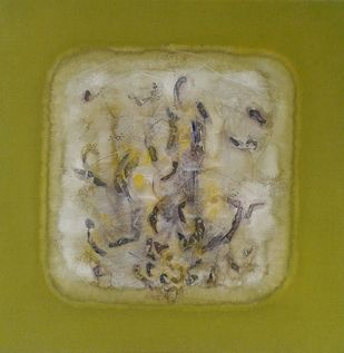 Antar Vyom by Jaiprakash Chouhan, Abstract Painting, Acrylic on Canvas, Olive color