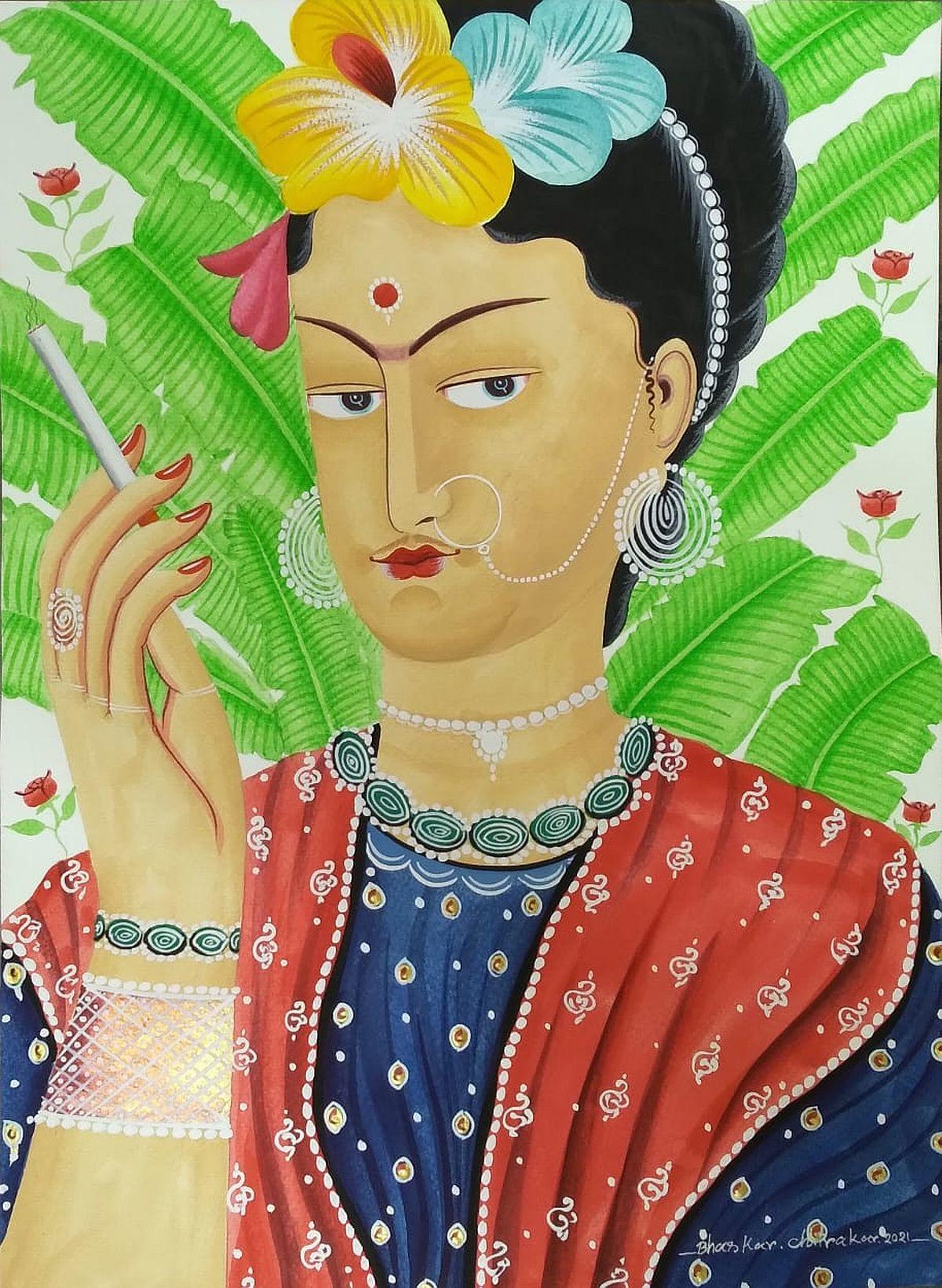 Kali-Kahlo with cigarette by Bhaskar Chitrakar, Folk Painting, Natural colours on paper, Olive color