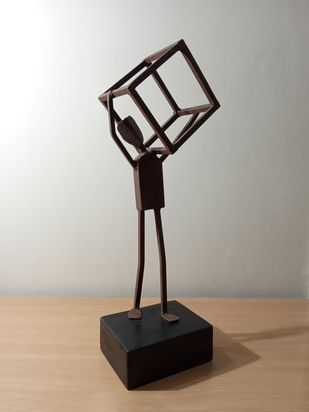 The Triumph of Labour 2 by Gurvinder Osahn, Art Deco Sculpture   3D, Iron, Silver color