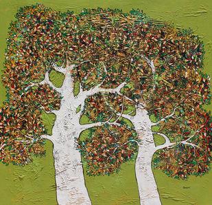 tree of life by Bhaskara Rao Botcha, Expressionism Painting, Acrylic on Canvas, Olive color