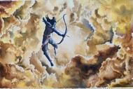 Lord Rama the warrior prince by Lasya Upadhyaya, Illustration Painting, Watercolor on Paper, Orange color
