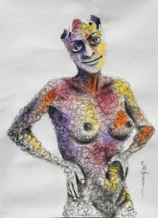 Just the cover by Swaroop Biswas, Illustration Painting, Watercolor and charcoal on paper, Silver color