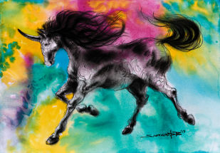 Unicorn by Swaroop Biswas, Illustration Painting, Watercolor and charcoal on paper, Teal color