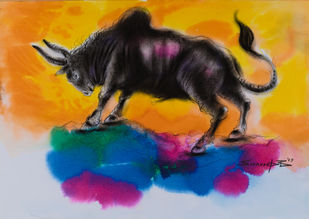 Bull by Swaroop Biswas, Illustration Painting, Watercolor and charcoal on paper, Yellow color
