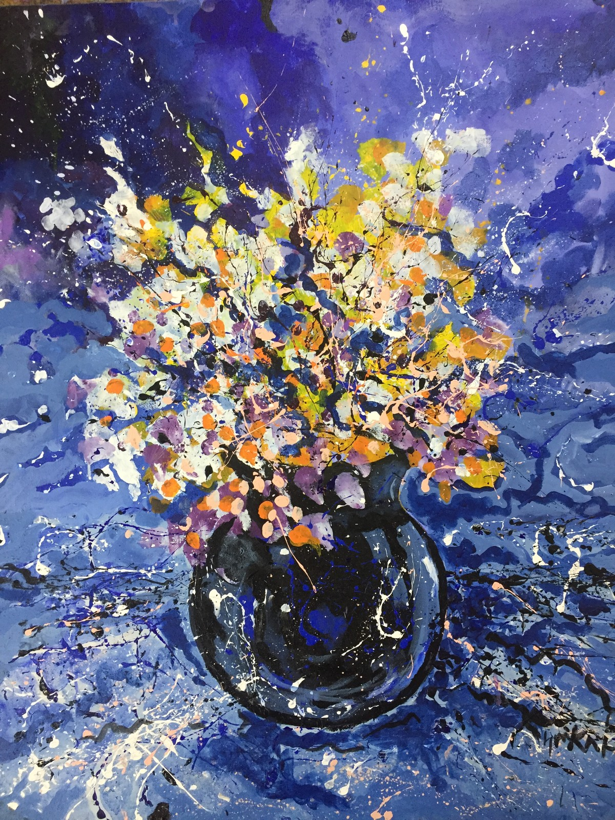Flower Vase Blue by Saikat Chakraborty, Abstract Painting, Acrylic on Canvas, Navy color
