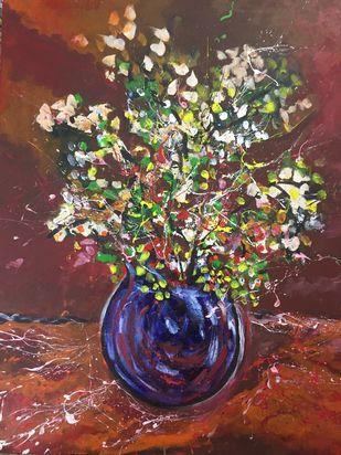 Flower vase brown Digital Print by Saikat Chakraborty,Abstract, Illustration