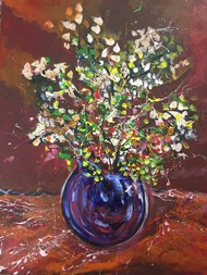 Flower vase brown by Saikat Chakraborty, Abstract, Illustration Painting, Acrylic on Canvas, Gray color