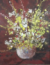 Flower vase brown 2 by Saikat Chakraborty, Abstract, Illustration Painting, Acrylic on Canvas, Gray color
