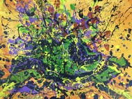 Flower Vase- Broken by Saikat Chakraborty, Abstract, Illustration Painting, Acrylic on Canvas, Gray color