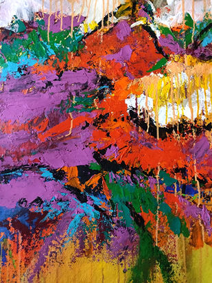 Spring of a dream by Neena Singh, Abstract Painting, Acrylic on Paper, Orange color