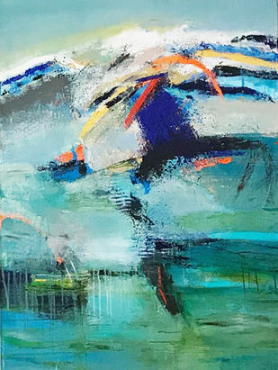 Beyond the solitude by Neena Singh, Abstract Painting, Acrylic on Canvas, Teal color