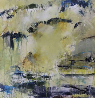 Title-Inspired by light 1 by Neena Singh, Abstract Painting, Acrylic on Canvas, Gray color