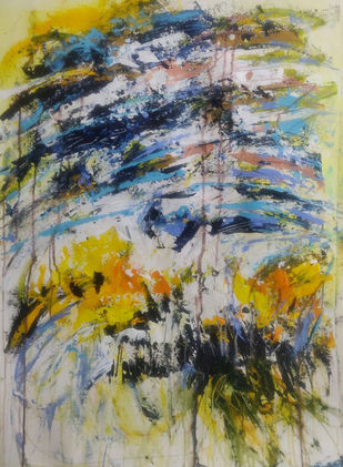 Untitled by Neena Singh, Abstract Painting, Acrylic on Paper, Gray color