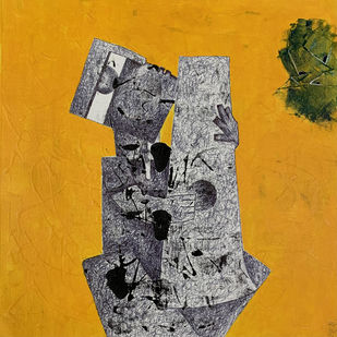 Music by Amit Pithadia, Cubism Painting, Acrylic & Ink on Canvas, Yellow color