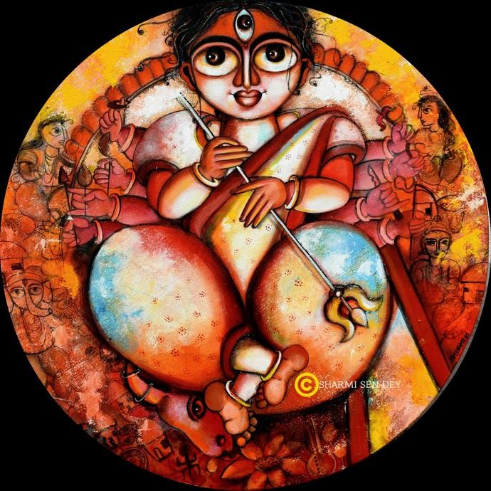 Shakti by Sharmi Dey, Decorative, Traditional Painting, Acrylic on Canvas, Orange color