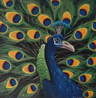 Majestic Peacock by Gitika Singh, Illustration Painting, Acrylic on Canvas, Gray color