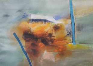Possibilities of love and joy by Neena Singh, Abstract Painting, Acrylic on Paper, Gray color