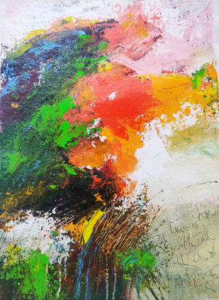 Laughter in The sun by Neena Singh, Abstract Painting, Acrylic on Paper, Silver color