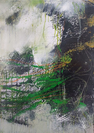 A wandering desire in the mist by Neena Singh, Abstract Painting, Acrylic on Paper, Gray color