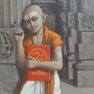 Untitled by Sanjay N Raut, Illustration Painting, Acrylic on Canvas, Gray color