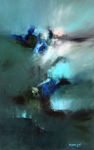 Untitled by Neena Singh, Abstract Painting, Acrylic on Canvas, Gray color