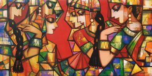 rhythimscape series by Anindya Mukherjee, Expressionism Painting, Acrylic on Canvas, Orange color