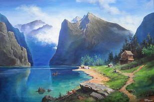 Landscape by Gagan kumar Mohanta, Illustration, Realism Painting, Acrylic on Canvas, Gray color