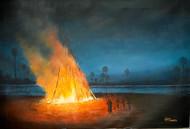 Makar sankranti by Gagan kumar Mohanta, Illustration, Realism Painting, Acrylic on Canvas, Gray color
