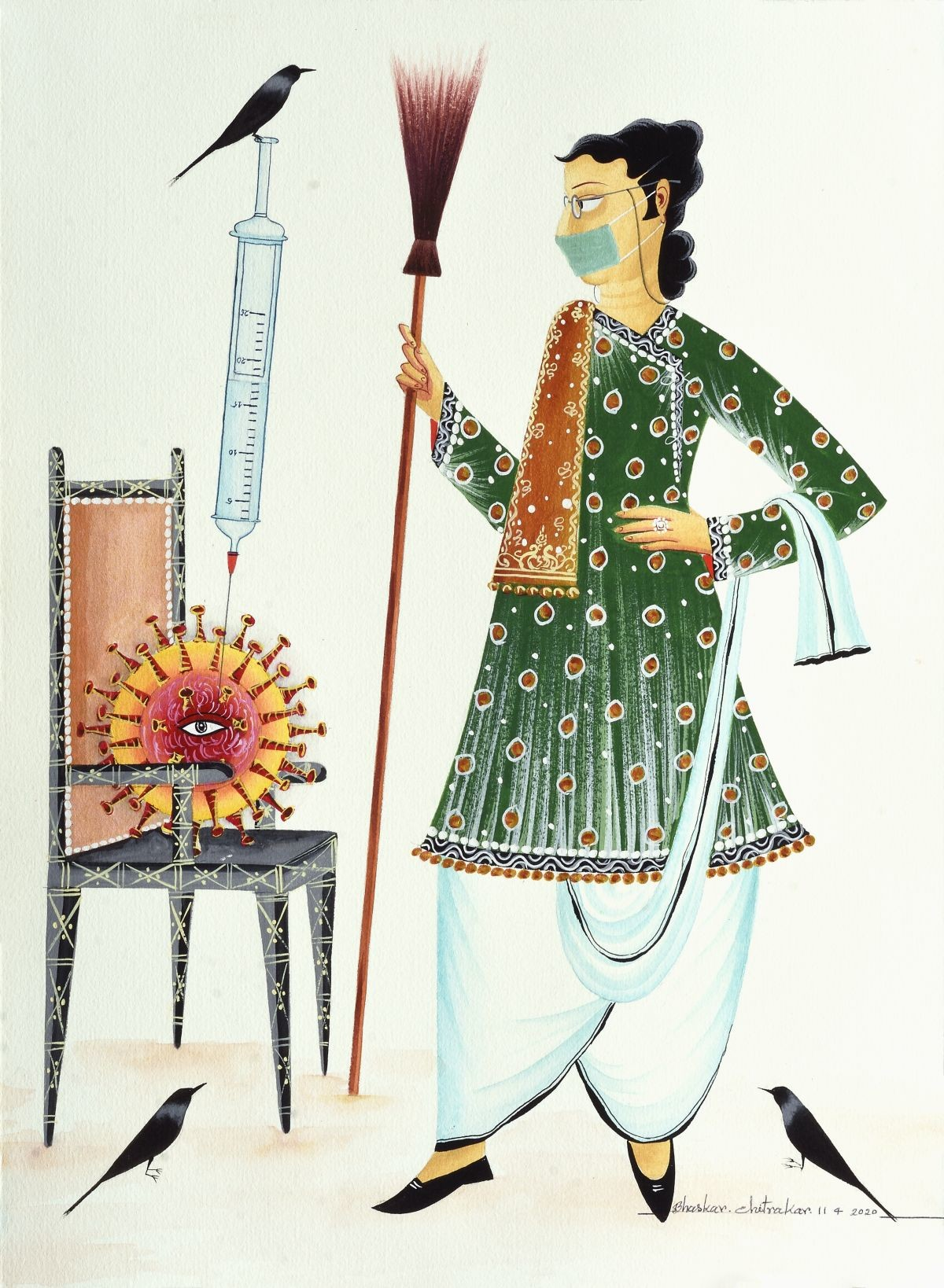 Have No Fear, Babu Is Here! by Bhaskar Chitrakar, Folk Painting, Natural colours on paper, White color