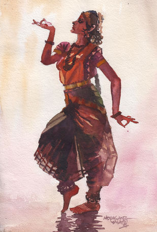 Dancer 4 by Mopasang Valath, Illustration Painting, Watercolor on Paper, Red color