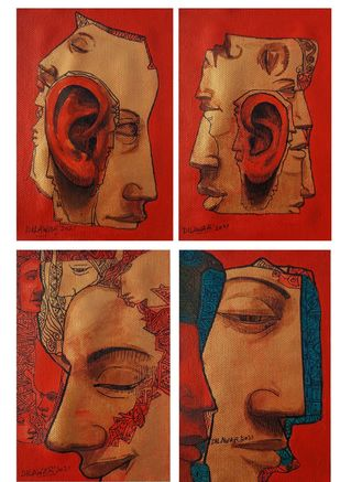 Beauty of Noise (set of 4) by Dilawar Khan, Conceptual Painting, Acrylic on Canvas, Orange color