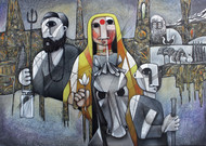 THE JOURNEY by NAGESWARA RAO, Expressionism Painting, Oil on Canvas, Gray color