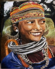 The Smile by Ria Das, Illustration Painting, Acrylic on Canvas, Gray color