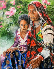 Pride by Ria Das, Illustration Painting, Acrylic on Canvas, Orange color