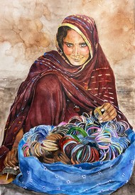 The Bangle Seller by Ria Das, Illustration Painting, Ink/ watercolour/acrylic on handmade paper, Orange color