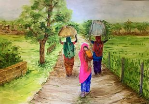 Life as they know it - II by Kajal Nalwa, Illustration Painting, Watercolor on Paper, Olive color