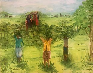 Life as they know it by Kajal Nalwa, Illustration Painting, Watercolor on Paper, Olive color