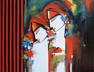 loving couple by pradeesh k raman, Expressionism Painting, Acrylic on Canvas, Gray color
