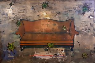 Gratitude 2 by riddhima sharraf, Conceptual Painting, Mixed Media on Canvas, Gray color