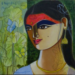 Untitled by Pramod Reddy Gade, Expressionism Painting, Acrylic on Canvas, Olive color