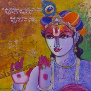 Untitled by Pramod Reddy Gade, Expressionism Painting, Acrylic on Canvas, Orange color