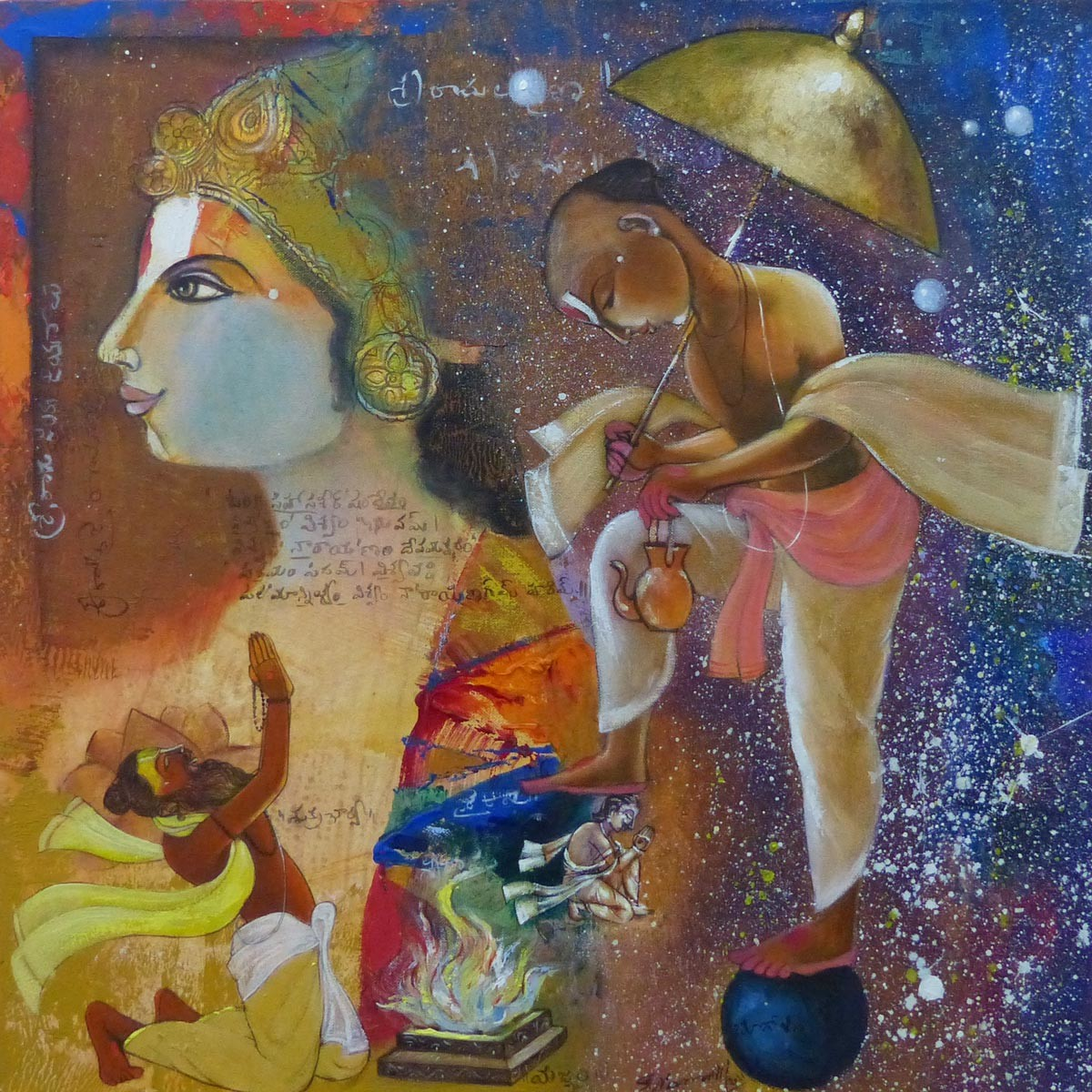 Untitled by Pramod Reddy Gade, Expressionism Painting, Acrylic on Canvas, Gray color
