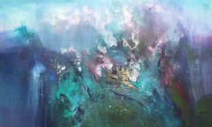 In Between by Dnyaneshwar Dhavale , Abstract Painting, Acrylic on Canvas, Gray color